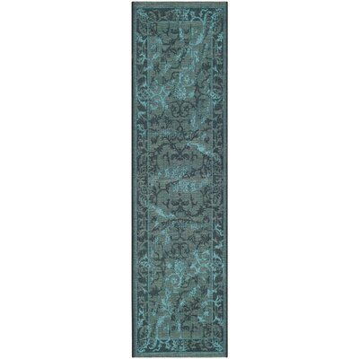 Mahmoud Black and Turquoise Area Rug Rug Size: Runner 2 x 73