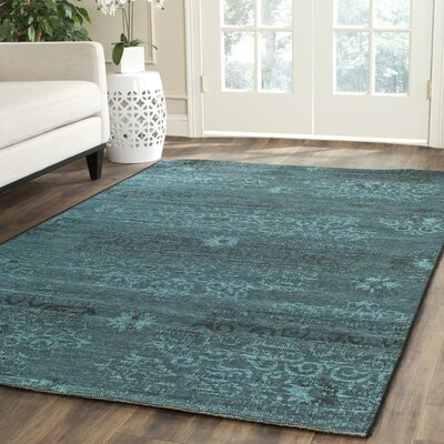 Mahmoud Velvety Black/Turquoise Area Rug Rug Size: Rectangle 2 x 36