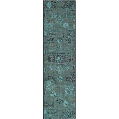 Port Laguerre Velvety Black/Turquoise Area Rug Rug Size: Runner 2 x 73