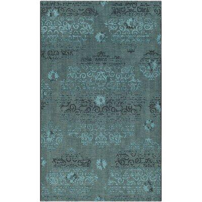 Mahmoud Velvety Black/Turquoise Area Rug Rug Size: 5 x 8