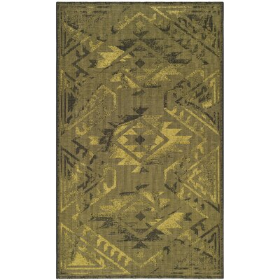 Port Laguerre Black/Green Velvety Area Rug Rug Size: 3 x 5