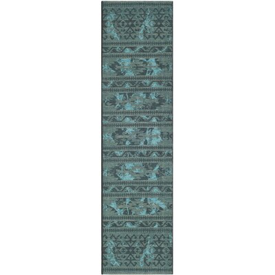 Port Laguerre Black & Turquoise Velvety Area Rug Rug Size: Runner 2 x 73