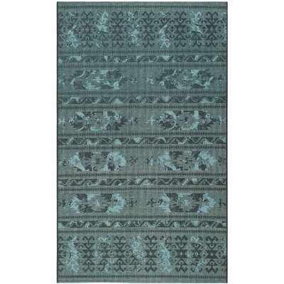 Port Laguerre Black & Turquoise Velvety Area Rug Rug Size: Rectangle 5' x 8'