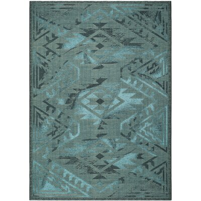 Port Laguerre Black & Turquoise Velvety Area Rug Rug Size: Rectangle 8 x 11