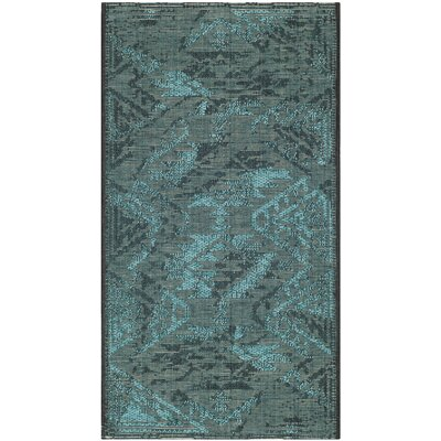 Port Laguerre Black & Turquoise Velvety Area Rug Rug Size: Rectangle 2 x 36