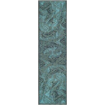 Port Laguerre Black & Turquoise Velvety Area Rug Rug Size: Runner 2' x 7'3