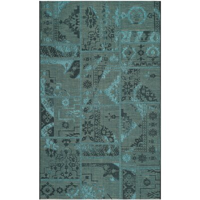 Port Laguerre Black/Turquoise Velvety Area Rug Rug Size: Rectangle 5 x 8