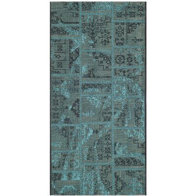 Port Laguerre Black/Turquoise Velvety Area Rug Rug Size: Rectangle 3' x 5'