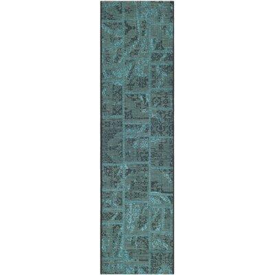 Port Laguerre Black/Turquoise Velvety Area Rug Rug Size: Runner 2 x 73