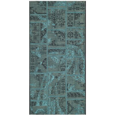 Port Laguerre Black/Turquoise Velvety Area Rug Rug Size: 3 x 5
