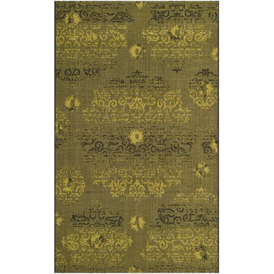 Port Laguerre Black/Green Velvety Area Rug Rug Size: 5 x 8