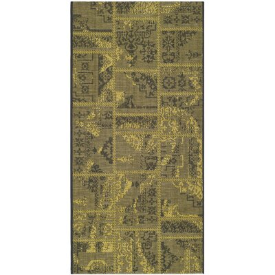 Port Laguerre Black/Green Velvety Area Rug Rug Size: Rectangle 4 x 6
