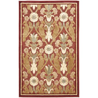 Saint-Michel Red Area Rug Rug Size: 4' x 5'7
