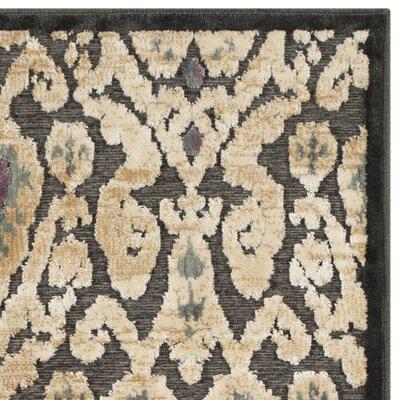Saint-Michel Charcoal Floral Rug Rug Size: Runner 25 x 76