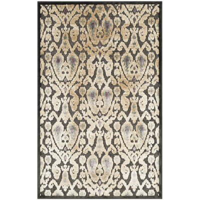 Saint-Michel Charcoal Floral Rug Rug Size: 33 x 57