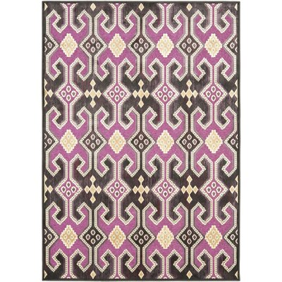 Saint-Michel Fuchsia / Purple Floral Rug Rug Size: Rectangle 76 x 106
