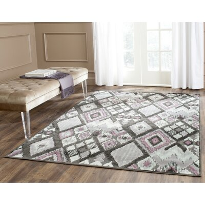 Saint-Michel Charcoal/Pink Area Rug Rug Size: Rectangle 76 x 106