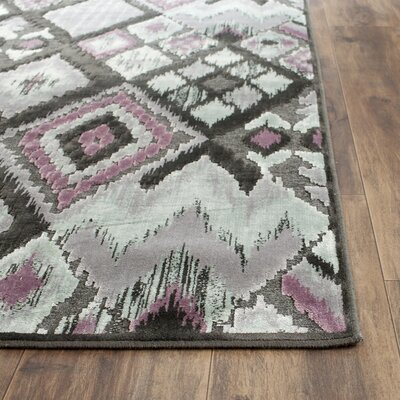 Saint-Michel Charcoal/Pink Area Rug Rug Size: Runner 25 x 76