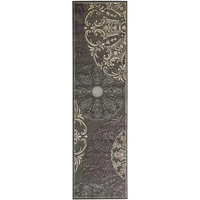 Saint-Michel Charcoal Floral Rug Rug Size: Runner 25 x 76