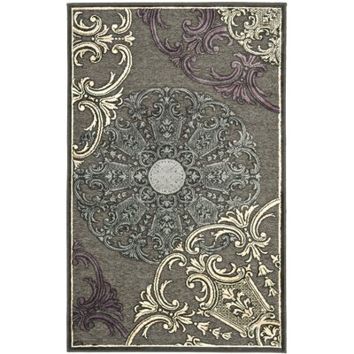 Saint-Michel Charcoal Floral Rug Rug Size: 76 x 106