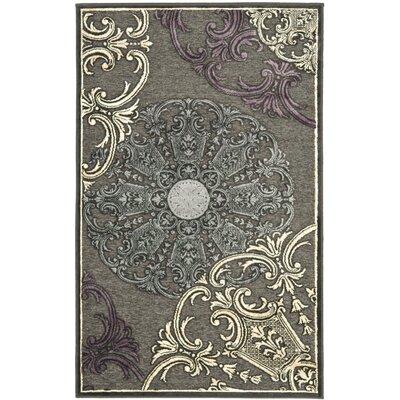 Saint-Michel Charcoal Floral Rug Rug Size: 2'7