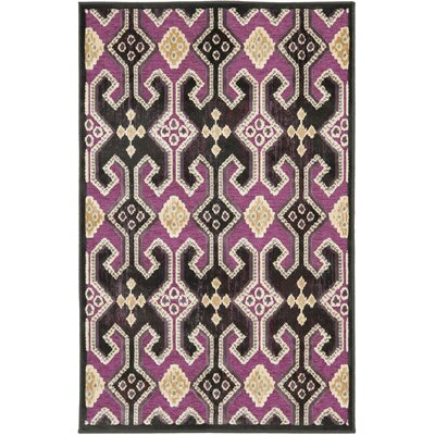 Saint-Michel Anthracite/Fuchisa Area Rug Rug Size: Rectangle 53 x 76