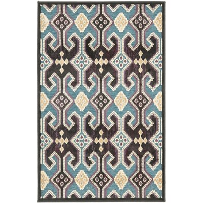 Saint-Michel Anthracite/Petrol Area Rug Rug Size: 27 x 4