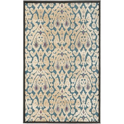 Saint-Michel Anthracite/Petrol Area Rug Rug Size: 53 x 76