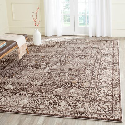 Watts Brown/Cream Area Rug Rug Size: Rectangle 6 x 9