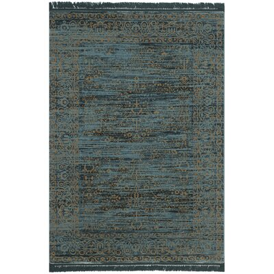 Zennia Turquoise & Gold Area Rug Rug Size: 23 x 39