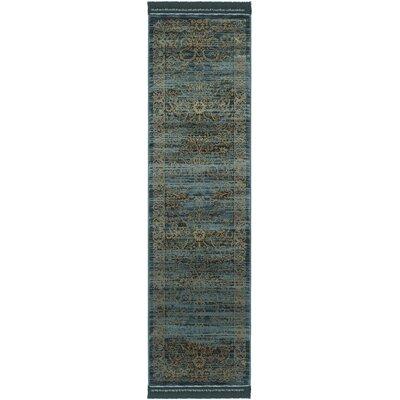 Zennia Turquoise & Gold Area Rug Rug Size: Runner 23 x 8