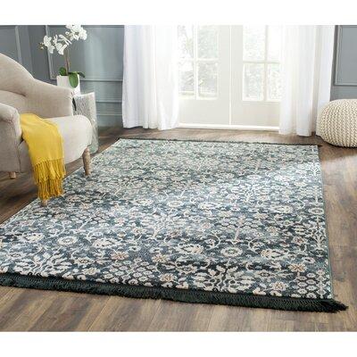 Zennia Turquoise & Cream Area Rug Rug Size: 33 x 53