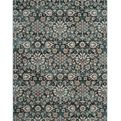 Zennia Turquoise & Cream Area Rug Rug Size: 36 x 56