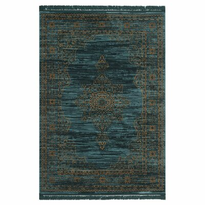 Zennia Turquoise/Gold Area Rug Rug Size: Rectangle 6 x 9