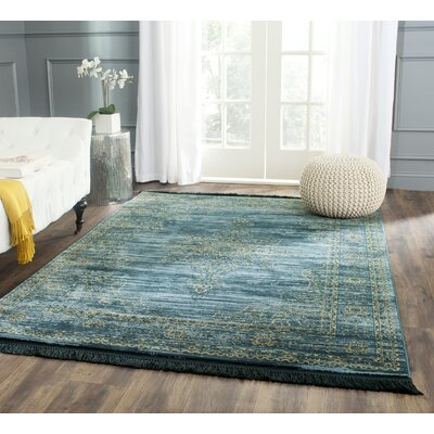 Zennia Turquoise/Gold Area Rug Rug Size: 36 x 56