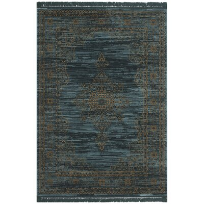 Zennia Turquoise/Gold Area Rug Rug Size: Rectangle 51 x 76