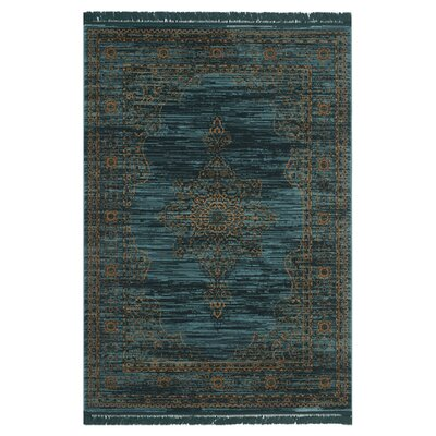 Zennia Turquoise/Gold Area Rug Rug Size: 6 x 9