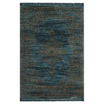 Zennia Turquoise/Gold Area Rug Rug Size: 8 x 10