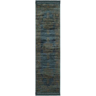 Zennia Turquoise/Gold Area Rug Rug Size: Runner 23 x 8