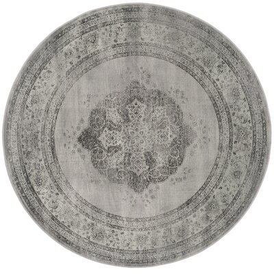 Makenna Gray/Green Area Rug Rug Size: Round 6