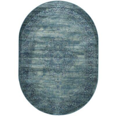 Makenna Turquoise Area Rug Rug Size: Oval 53 x 76