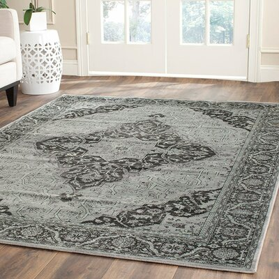 Makenna Mint Gray Rug Rug Size: Runner 25 x 76