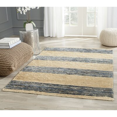 Pinehurst Natural/Blue Area Rug Rug Size: 6 x 9