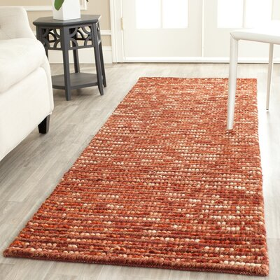 Makhi Hand-Knotted Rust Area Rug Rug Size: Runner 26 x 8