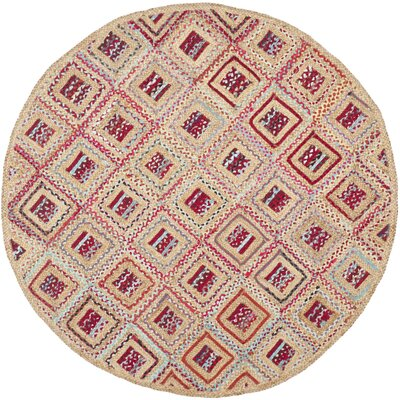 Francisco Natural & Red Area Rug Rug Size: Round 6
