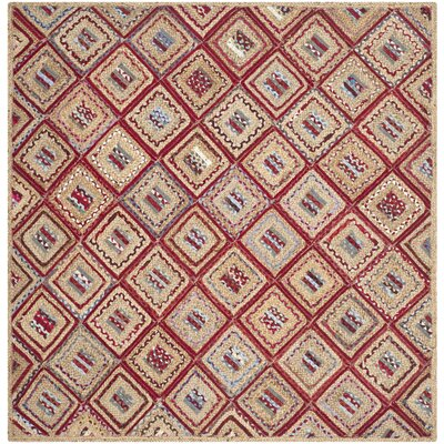 Francisco Natural & Red Area Rug Rug Size: Square 6