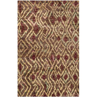 Pinehurst Hand-Knotted Brown/Gold Area Rug Rug Size: Rectangle 5 x 8