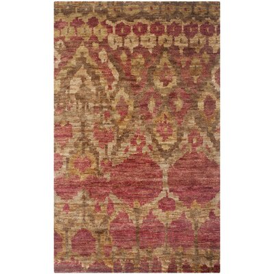 Pinehurst Hand-Knotted Red/Gold Area Rug Rug Size: Rectangle 4 x 6