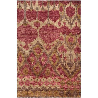 Pinehurst Hand-Knotted Red/Gold Area Rug Rug Size: Rectangle 5 x 8