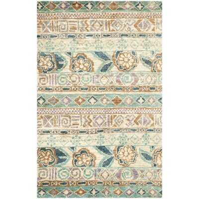 Pinehurst Hand-Knotted Bleach/Gold Area Rug Rug Size: Rectangle 4 x 6
